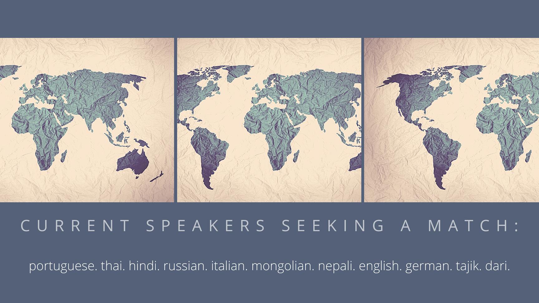 Current speakers seeking a match (1)